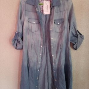Beautiful Acclaimed Light Blue Button Up Dress